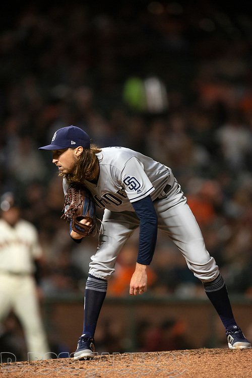 San Diego Padres pitcher Matt Strahm (55) gets ready to deliver against the San Francisco Giants during the eighth inning of a baseball game, Thursday, Aug. 29, 2019, in San Francisco. The Padres won 5-3. (AP Photo/D. Ross Cameron)