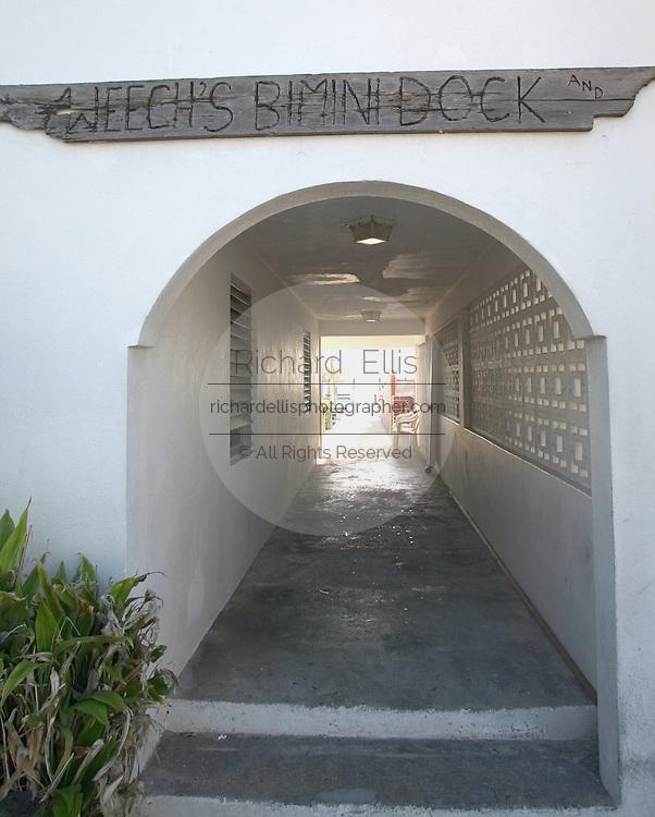 Weech's dock along the King's Highway in Alice Town on the tiny Caribbean island of Bimini, Bahamas.