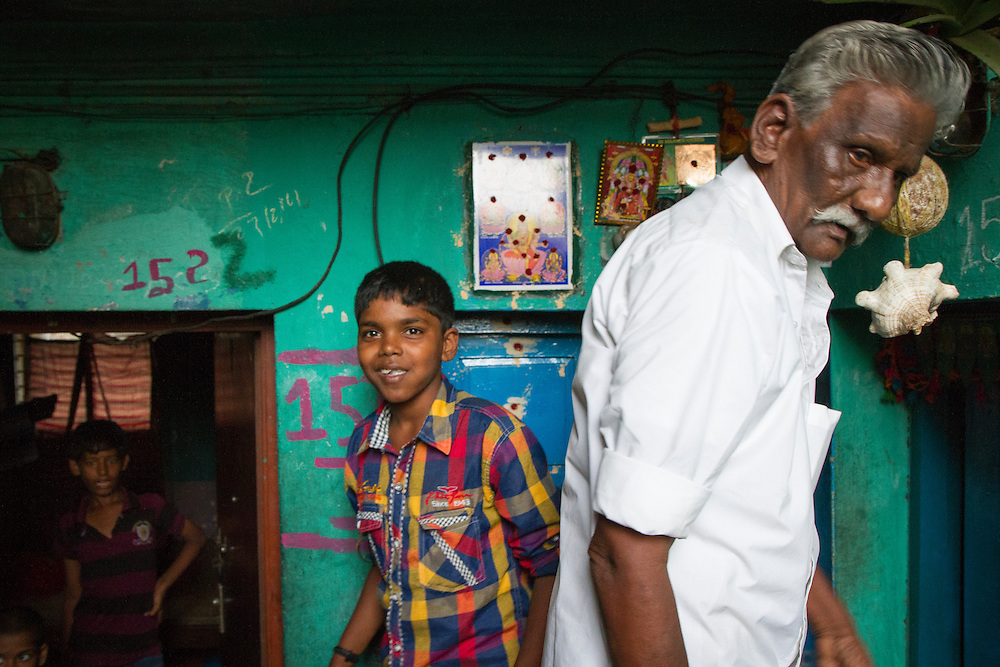 Entrances to the lower level of government houses created in a slum in Chennai, India.