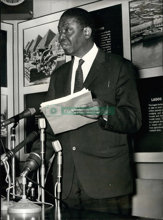 Aug. 08, 1969 - Ex President of Nigeria announces decision to renounce Colonel Ojukwu's cause.: A resounding blow against Colonel Ojukwu. rebe; ;reader of breakaway Biafra in the Nigerian Civil War, was delivered in London today. It came from Nnamdi Azikiwe - the formidable ''Dr. Zik'' - first President of Federal Nigeria who later defected to become a dominating member of the Ojukwu brains-trust waging the war. Ex-president Azikiwe announced from the Nigerian High Commission his bombshell decision to renounce Colonel Ojukwu's cause. Photo shows Dr. Azikiwe, the former President of Nigeria speaking at a Press conference at the Nigerian High Commission in London today, (Credit Image: © Keystone Press Agency/Keystone USA via ZUMAPRESS.com)