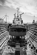Ship in dry dock in Cape Town