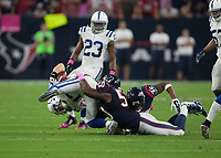 October 9, 2014: Houston Texans Linebacker Akeem Dent (50) makes a tackle during the NFL American Football Herren USA game between the Indianapolis Colts and the Houston Texas at NRG Stadium in Houston, TX. NFL American Football Herren USA OCT 09 Colts at Texans PUBLICATIONxINxGERxSUIxAUTxHUNxRUSxSWExNORxONLY Icon14100914<br />