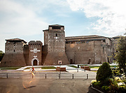 ITALY, RIMINI, Teatro Galli, a view of Castel Sismondo from the back of the theater stage
