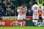 Bojan Krkic of Stoke City (l) celebrates with his teammates after scoring his teams 1st goal from the penalty spot. Premier league match, Stoke City v Leicester City at the Bet365 Stadium in Stoke on Trent, Staffs on Saturday 17th December 2016.<br /> pic by Chris Stading, Andrew Orchard sports photography.