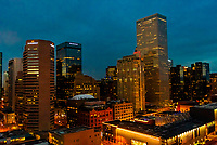 Downtown Denver at twilight, Colorado USA.