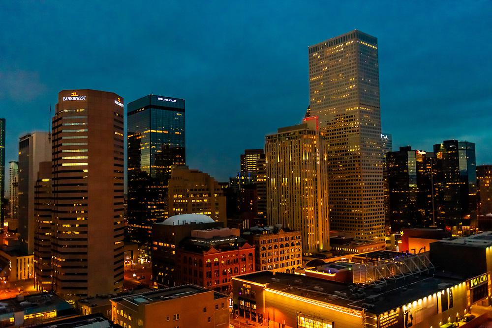 Downtown Denver at twilight, Colorado USA.