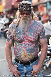 Paul Barney of Toledo, Ohio can usually be found on Main Street during the annual Sturgis Black Hills Motorcycle Rally. Sturgis, SD, USA. Monday August 7, 2017. Photography ©2017 Michael Lichter.