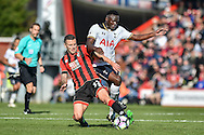 AFC Bournemouth Midfielder, Jack Wilshere (32) and Tottenham Hotspur Midfielder, Victor Wanyama (12) challenge for the ball during the Premier League match between Bournemouth and Tottenham Hotspur at the Vitality Stadium, Bournemouth, England on 22 October 2016. Photo by Adam Rivers.