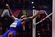 Erik Kynard (USA) places fourth  in the high jump at 7-6 (2.29m) in the high jump during the IAAF World Indoor Championships at Arena Birmingham in Birmingham, United Kingdom on Thursday, Mar 1, 2018. (Steve Flynn/Image of Sport)