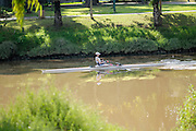 Israel, Tel Aviv, Hayarkon Park rowing in the river