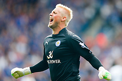 Kasper Schmeichel of Leicester City celebrates after his side score a goal to equalise at 2-2 - Photo mandatory by-line: Rogan Thomson/JMP - Mobile: 07966 386802 16/08/2014 - SPORT - FOOTBALL - Leicester - King Power Stadium - Leicester City v Everton - Barclays Premier League