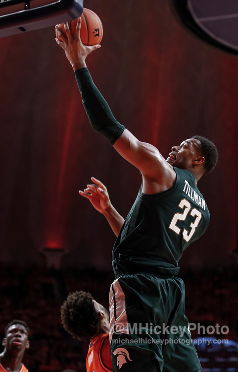 CHAMPAIGN, IL - FEBRUARY 11: Xavier Tillman #23 of the Michigan State Spartans shoots the ball during the game against the Illinois Fighting Illini at State Farm Center on February 11, 2020 in Champaign, Illinois. (Photo by Michael Hickey/Getty Images) *** Local Caption *** Xavier Tillman