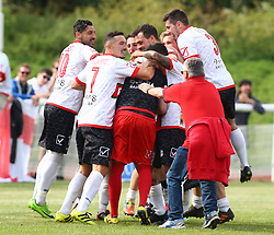 June 9, 2018 - London, England, United Kingdom - Padania players celebrate after winning the Final.during Conifa Paddy Power World Football Cup 2018 Bronze Medal Match Third Place Play-Off between Padania v Szekely Land at Queen Elizabeth II Stadium (Enfield Town FC), London, on 09 June 2018  (Credit Image: © Kieran Galvin/NurPhoto via ZUMA Press)