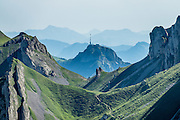See the peak of Hoher Kasten from Meglisalp, part way up Rotsteinpass trail, in the Alpstein limestone mountain range, Appenzell Alps, Switzerland, Europe. Appenzell Innerrhoden is Switzerland's most traditional and smallest-population canton (second smallest by area).