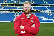 U20 England No 8 James Chisholm pictured  at the American Express Community Stadium, Brighton and Hove, England on 18 February 2015, promoting the U20 Rugby International at the stadium.