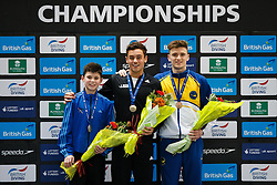 The podium for the Mens 10m Platform Final. (L-R) Silver Medallist Matthew Dixon of Plymouth Diving, Gold Medallist Tom Daley of Dive London Aquatic Centre and Bronze Madallist Matty Lee of City of Leeds Diving Club - Photo mandatory by-line: Rogan Thomson/JMP - 07966 386802 - 22/02/2015 - SPORT - DIVING - Plymouth Life Centre, England - Day 3 - British Gas Diving Championships 2015.