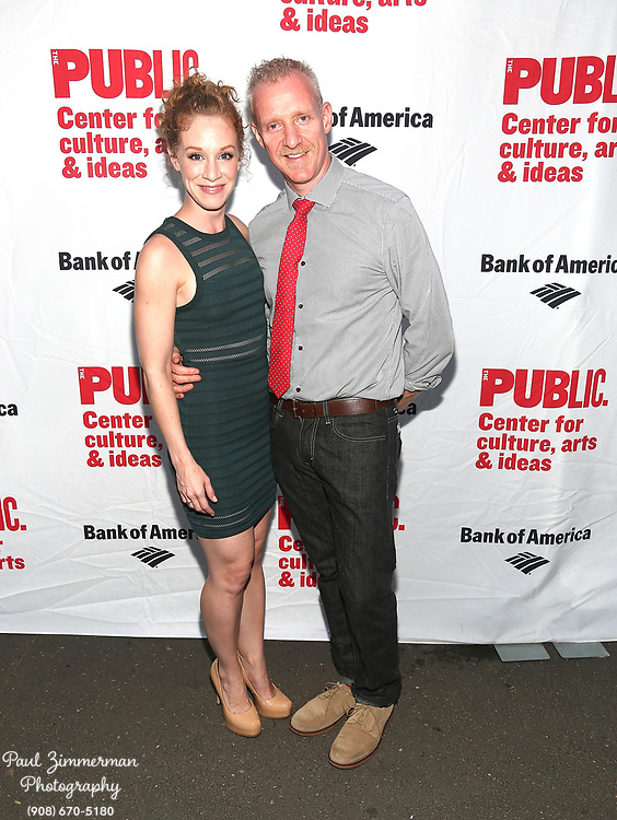 """NEW YORK, NY - AUGUST 12:  (L-R) Lindsay Nicole Chambers and Chris Baron attend the opening night of """"Love's Labour's Lost"""" at the Delacorte Theater on August 12, 2013 in New York City.  (Photo by Paul Zimmerman/WireImage)"""