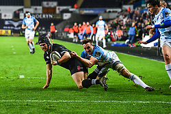 Ospreys' Dan Evans scores his sides first try<br /> <br /> Photographer Craig Thomas/Replay Images<br /> <br /> Guinness PRO14 Round 18 - Ospreys v Leinster - Saturday 24th March 2018 - Liberty Stadium - Swansea<br /> <br /> World Copyright © Replay Images . All rights reserved. info@replayimages.co.uk - http://replayimages.co.uk