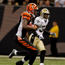 2009 August 14: Cincinnati Bengals wide receiver Chris Henry (15) born in Belle Chasse, Louisiana is shown in action during a preseason opener between the Cincinnati Bengals and the New Orleans Saints at the Louisiana Superdome in New Orleans, Louisiana.  Henry died on the morning of December 17, 2009 after suffering injuries he sustained after falling from the back of a pick up truck, Henry was 26-years old.
