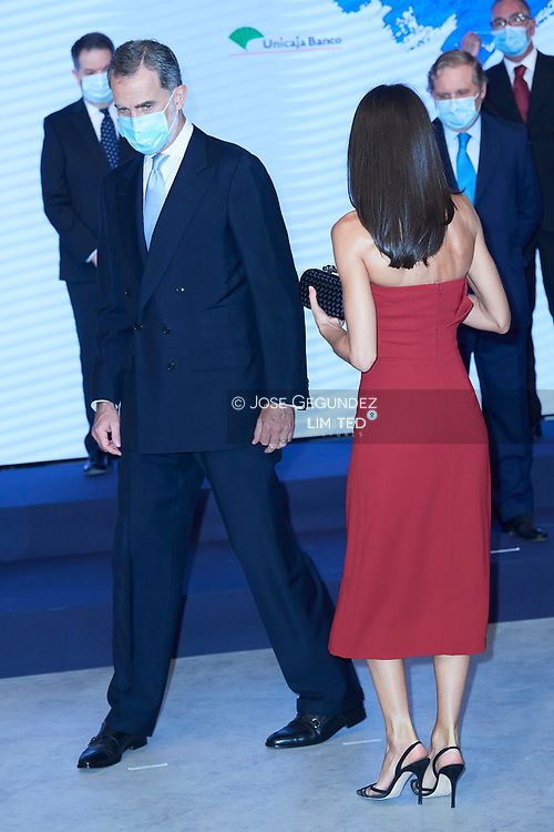 King Felipe VI of Spain, Queen Letizia of Spain attends a dinner in honour of 'Mariano de Cavia', 'Mingote' and 'Luca de Tena' Awards celebrating its 100 edition at ABC on July 13, 2020 in Madrid, Spain