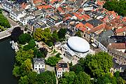 Nederland, Overijssel, Zwolle, 17-07-2017; overzicht binnenstad Zwolle, met Museum de Fundatie (met witte koepel).<br /> Zwolle is de hoofdstad van de Nederlandse provincie Overijssel en tevens Hanzestad.<br /> Zwolle is the capital of the Dutch province of Overijssel and also a Hanseatic town.<br /> aerial photo (additional fee required);<br /> copyright foto/photo Siebe Swart
