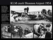 KLM Plane Crash at Shannon Airport on Sept. 5th 1954. 3 crew and 25 passengers were killed when the Lockeed Super Constellation Triton crashed into the mudflats while taking off from Shannon Airport, Ireland. There were 28 survivors from the plane crash.<br /> Photo: Donal MacMonagle - macmonagle.com archives