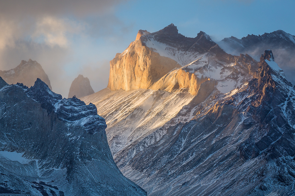 The last light of day illuminates the Cuernos del Paine in a final farewell.