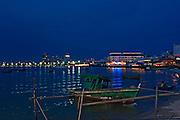 Bangkok, Thailand, night view of the city across the harbour