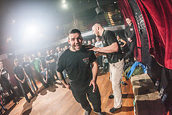 Tommy Blom demonstrates carrying your partner as if in an emergency. IKMS 'In The Club' seminar with KMG Global Team Instructor and Expert Level 5, Tommy Blom, at the Buff Club in Glasgow's City Centre. Bringing Krav Maga training out with the confines of the gym into a real nightclub/bar.<br /> © Michael Schofield.