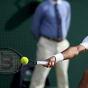 LONDON, ENGLAND - JULY 14: Roger Federer of Switzerland in action against Thomas Berdych of the Czech Republic in the Gentlemen's Singles Semi-final of the Wimbledon Lawn Tennis Championships at the All England Lawn Tennis and Croquet Club at Wimbledon on July 14, 2017 in London, England. (Photo by Tim Clayton/Corbis via Getty Images)