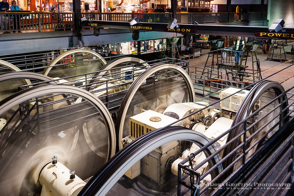 United States, California, San Francisco. The Cable Car Museum on Nob Hill, on top of the power house.