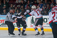 KELOWNA, CANADA - FEBRUARY 10: Jack Flaman #18 of the Vancouver Giants drops the gloves with Rodney Southam #17 of the Kelowna Rockets on February 10, 2017 at Prospera Place in Kelowna, British Columbia, Canada.  (Photo by Marissa Baecker/Shoot the Breeze)  *** Local Caption ***