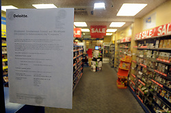 © Licensed to London News Pictures. 16/01/2013.Administration letter in the window..Blockbuster in Administration making them the 3rd retailer this year to go into administration..  This Blockbuster store in Pettswood near Bromley in Kent is empty tonight with no customers..Photo credit : Grant Falvey/LNP
