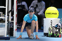 BALL GIRL DURING  Bob Bryan and Mike Bryan in action today during their match against Ivan Dodig and Marcelo Melo in their Doubles Final match<br /> <br /> Photographer Kieran Galvin/CameraSport<br /> <br /> International Tennis - Barclays ATP World Tour Finals - O2 Arena - London - Day 8 - Sunday 16th November 2014<br /> <br /> © CameraSport - 43 Linden Ave. Countesthorpe. Leicester. England. LE8 5PG - Tel: +44 (0) 116 277 4147 - admin@camerasport.com - www.camerasport.com