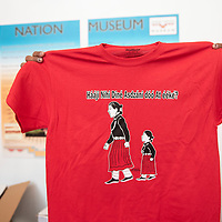 """""""Where are our women and girls?"""" reads a shirt distributed at a Missing a Murdered Indigenous Women awareness event, Thursday, May 30 at the Navajo Nation Museum in Window Rock."""