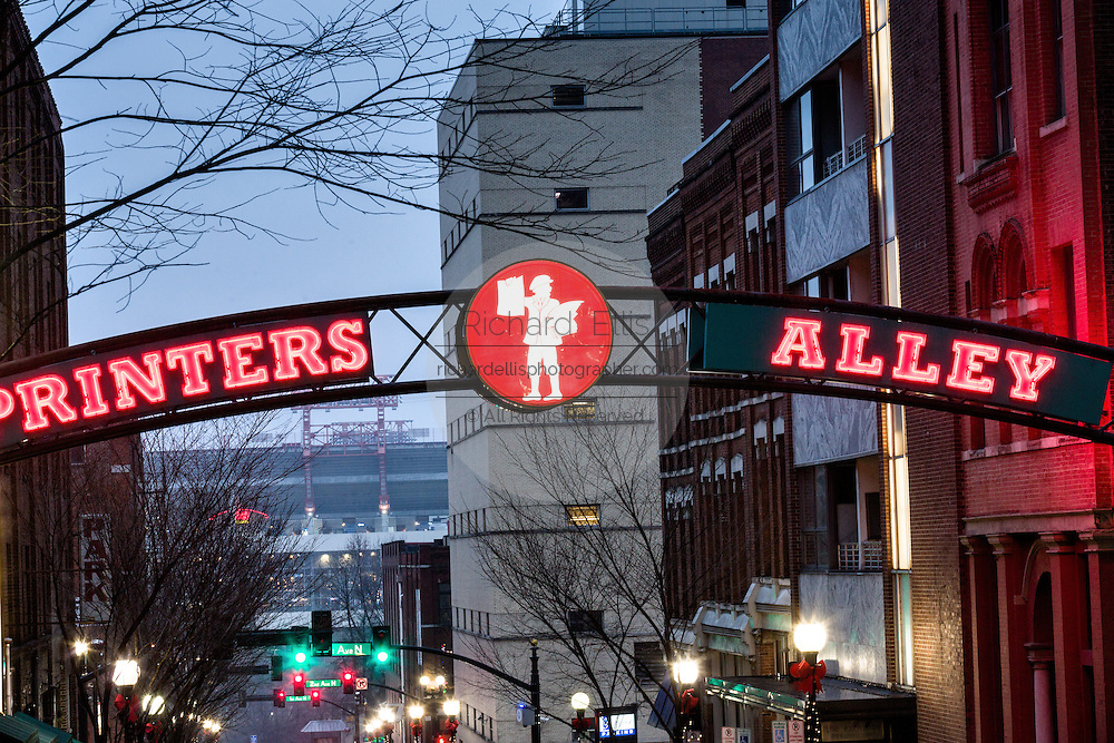 Neon sign for Printers Alley in Nashville, TN.