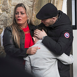 """© Licensed to London News Pictures. 13/02/2020. Sevenoaks, UK. Emotional mourners watch the coffins arrive at St John the Baptist church in Sevenoaks, Kent for he funeral of traveller brothers Billy and Joe Smith. The twin brothers, who were made famous by the television programme """"My Big Fat Gypsy Wedding"""", were found hanged in woodland three days after Christmas. Photo credit: Ben Cawthra/LNP"""