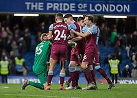 Football - 2019 / 2020 Premier League - Chelsea vs. West Ham United<br /> <br /> West Ham players congratulate David Martin (West Ham United) after his performance  at Stamford Bridge <br /> <br /> COLORSPORT/DANIEL BEARHAM
