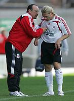 Photo: Paul Thomas.<br />Crewe Alexandra v Liverpool. Pre Season Friendly. 14/07/2007.<br /><br />Andriy Voronin (R) of Liverpool talks to manager Rafael Benitez.
