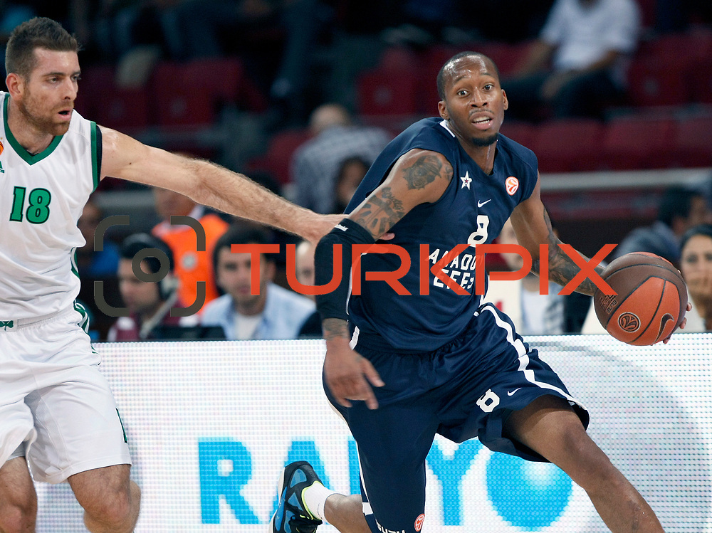 Anadolu Efes's Terence KINSEY (R) and Panathinaikos's Konstantinos KAIMAKOGLOU (L) during their Two Nations Cup basketball match Anadolu Efes between Panathinaikos at Abdi Ipekci Arena in Istanbul Turkey on Saturday 01 October 2011. Photo by TURKPIX