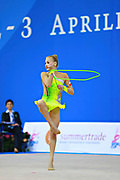 """Berniak Weronika during rope routine at the International Tournament of rhythmic gymnastics """"Città di Pesaro"""", 01 April, 2016. Weronika is a Polish individualistic gymnast, born onNovember 14, 2002 in Krakow.<br /> This tournament dedicated to the youngest athletes is at the same time of the World Cup."""