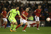 Nottingham Forest midfielder David Vaughan (24) and Brighton striker, Tomer Hemed (10) during the Sky Bet Championship match between Nottingham Forest and Brighton and Hove Albion at the City Ground, Nottingham, England on 11 April 2016.