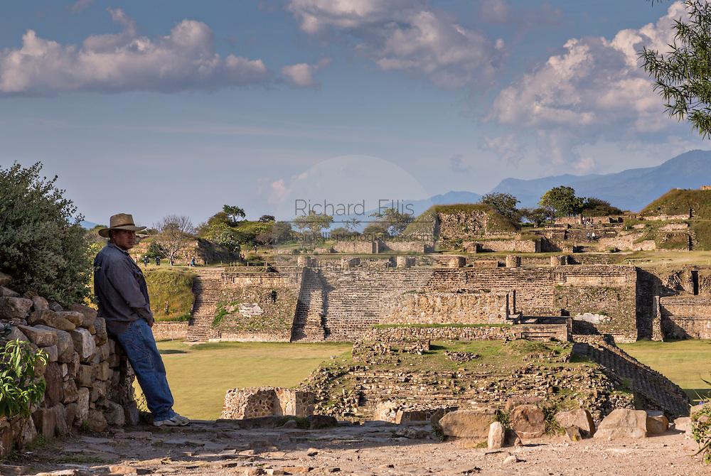 The buildings in the Grand Plaza of Monte Albán pre-Columbian archaeological site in the Santa Cruz Xoxocotlán, Oaxaca, Mexico.