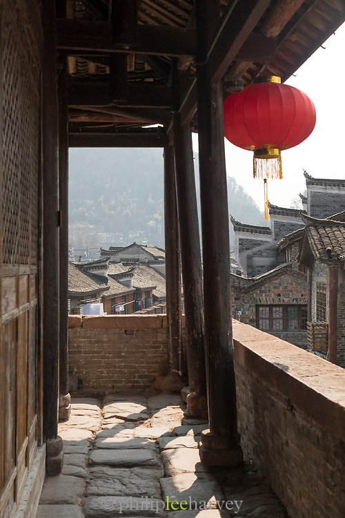View of old Chinese town from the East Gate Tower, Fenghuang, Hunan Province, China