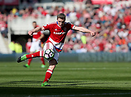 Grant Leadbetter of Middlesbrough strikes the ball during the Premier League match at the Riverside Stadium, Middlesbrough. Picture date: April 8th, 2017. Pic credit should read: Jamie Tyerman/Sportimage