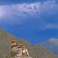 Fortress-like Yumbu Lakang, the oldest castle in Tibet, towers near Tsedang.