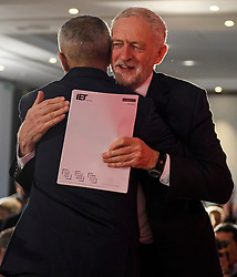 © Licensed to London News Pictures. 09/04/2018. London, UK. Labour Party leader JEREMY CORBYN hugs Mayor of London SADIQ KHAN on stage during the launch event for the Labour Party local election campaign launch in central London.  Labour are expected to make gains in the capital, potentially taking traditionally Conservative strongholds. Photo credit: Ben Cawthra/LNP