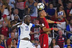 October 6, 2017 - Orlando, Florida, USA - United States forward Bobby Wood (9) and Panama defender Felipe Baloy (23) go airborne for a ball during a World Cup qualifying game at Orlando City Stadium on Oct. 6, 2017 in Orlando, Florida.  The US won 4-0....Zuma Press/Scott Miller (Credit Image: © Scott A. Miller via ZUMA Wire)