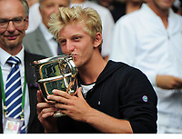 Tennis - 2017 Wimbledon Championships - Week Two, Sunday [Day Thirteen]<br /> 	<br /> Boys Singles Final match	<br /> <br /> Axel Geller (ARG) v Alejandro Davidovich Fokina (ESP)<br /> <br /> Alejandro Davidovich Fokina receives his winners  Trophy on  Centre court <br /> 	<br /> COLORSPORT/ANDREW COWIE