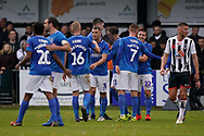 Goal, David Wheeler of Portsmouth scores, Maidenhead United 0-4 Portsmouth during the The FA Cup 1st round match between Maidenhead United and Portsmouth at York Road, Maidenhead, United Kingdom on 10 November 2018.